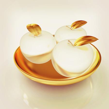 fruit stalk: Metall apples on a plate. 3D illustration. Vintage style.
