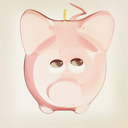Piggy bank with gold coin on white. 3D illustration. Vintage style. Stock Photo