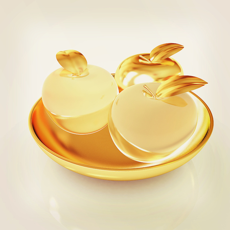 golden apple: Glass apple on a plate. 3D illustration. Vintage style.