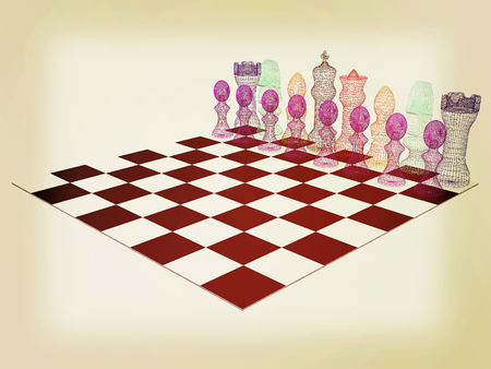Chessboard with chess pieces. 3D illustration. Vintage style. Stock Photo