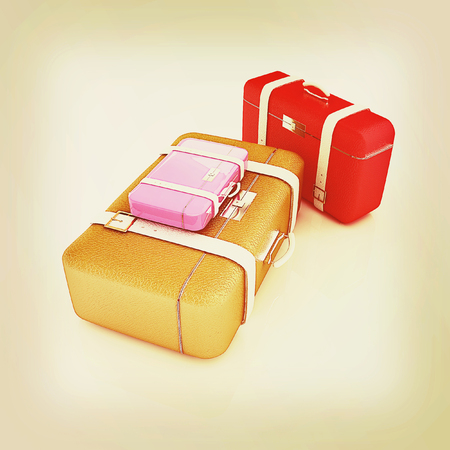 Travelers suitcases. Family travel concept. 3D illustration. Vintage style. Stock Photo