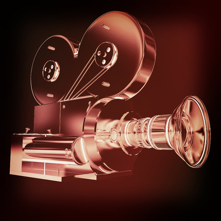 35mm film motion picture camera: Old camera. 3d render. 3D illustration. Vintage style. Stock Photo