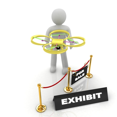 Drone, quadrocopter, with photo camera at the technical exhibition. 3d render Stock Photo