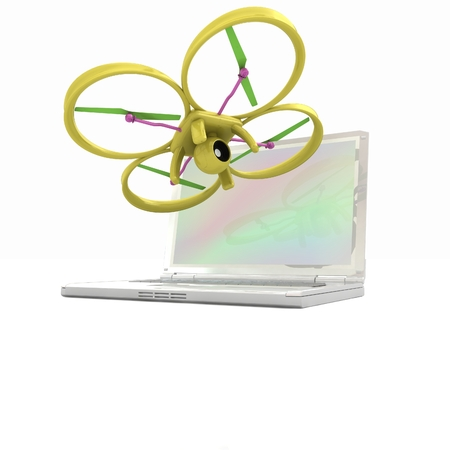 prototyping: Drone and laptop. 3D render