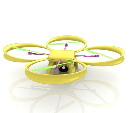 Drone, quadrocopter, with photo camera. 3d render Stock Photo
