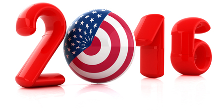 Image relative to parliament, presidents and others elections. 2016 year text, sphere instead letter O textured by USA flag. 3d render Stock Photo