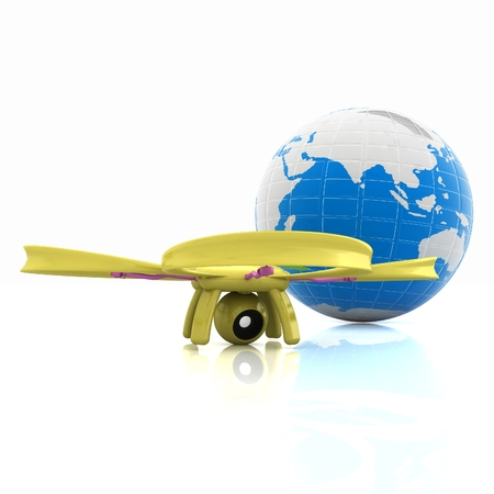 Quadrocopter Drone with Earth Globe and remote controller on a white background. 3d illustration Stock Photo