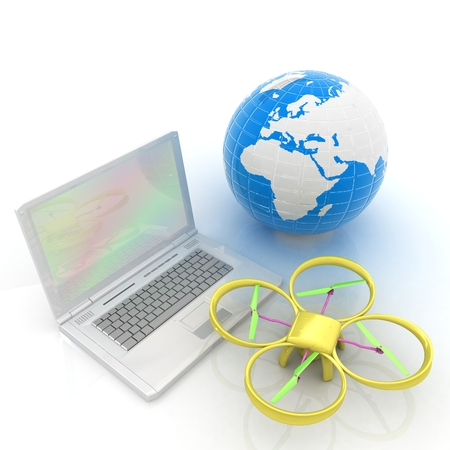 Drone or quadrocopter with camera with laptop. Network, online, buy, internet shopping, smart home. 3d render
