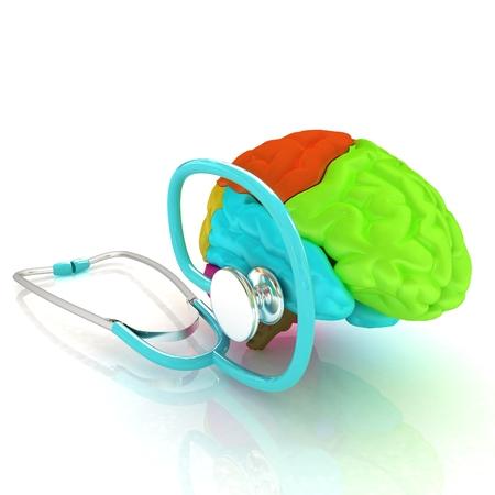 medical instrument: stethoscope and brain. 3d illustration