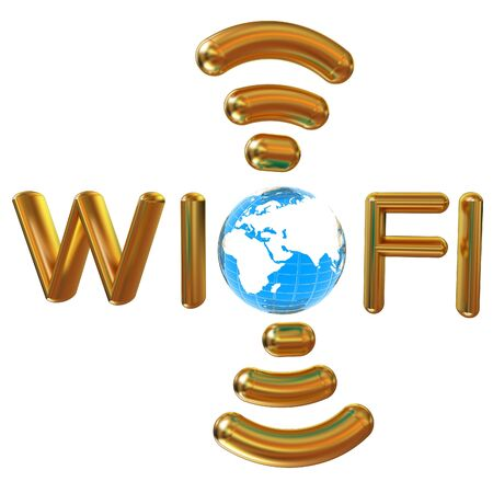nightspot: Gold wifi icon for new year holidays. 3d illustration Stock Photo