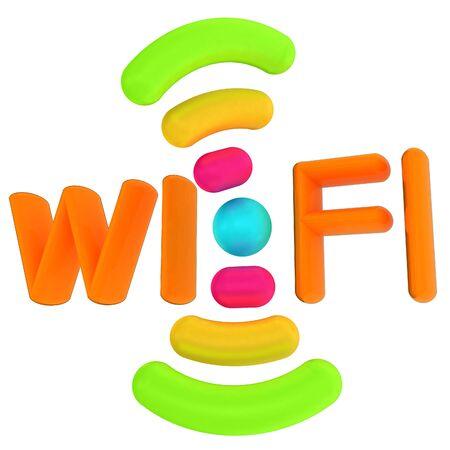 color wifi icon. 3d illustration Stock Photo