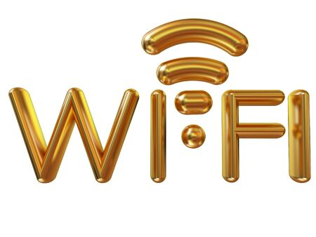 Gold wifi icon for new year holidays. 3d illustration Stock Photo