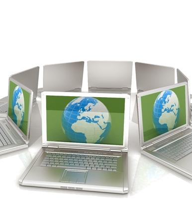science symbols metaphors: internet, global network, computers around globe. 3d render