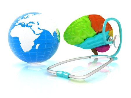 aiding: stethoscope, globe, brain - global medical concept. 3d illustration Stock Photo