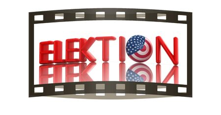 presidential: Image relative to parliament, presidents and others elections. Election text, sphere instead letter O textured by USA flag. 3d render. The film strip Stock Photo
