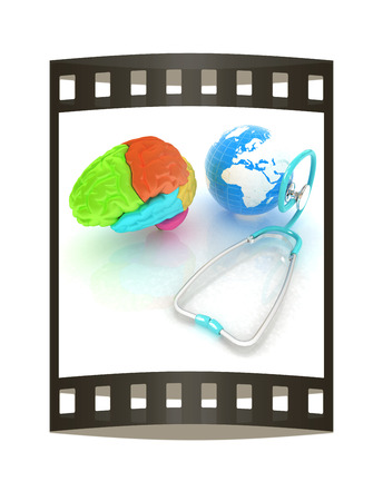 aiding: stethoscope, globe, brain - global medical concept. 3d illustration. The film strip