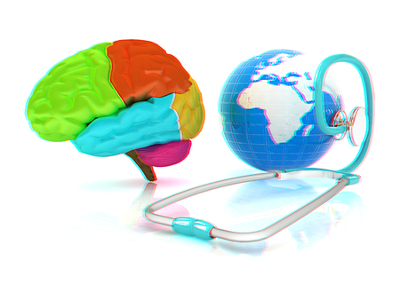 stethoscope, globe, brain - global medical concept. 3d illustration. Anaglyph. View with redcyan glasses to see in 3D.