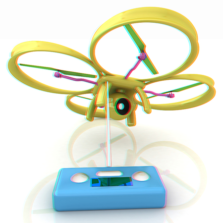 anaglyph: Drone with remote controller. Anaglyph. View with redcyan glasses to see in 3D.