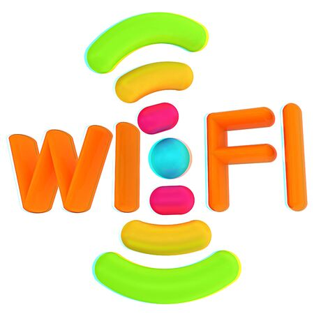 anaglyph: color wifi icon. 3d illustration. Anaglyph. View with redcyan glasses to see in 3D.