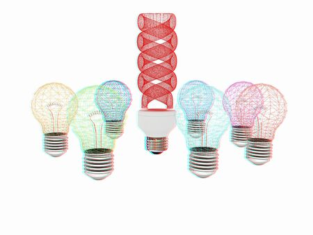 different thinking: energy-saving lamps. 3D illustration. Anaglyph. View with redcyan glasses to see in 3D.