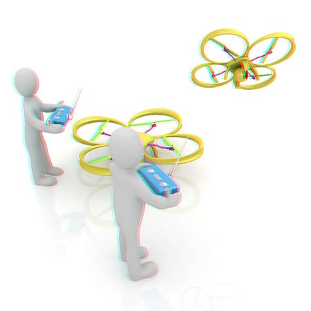 phantom: 3d man with drone, quadrocopter, with photo camera. 3d render. 3D render. Anaglyph. View with redcyan glasses to see in 3D.