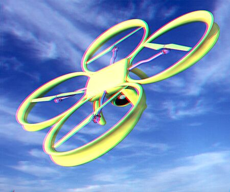 Drone, quadrocopter, with photo camera against the sky. 3D illustration. Anaglyph. View with redcyan glasses to see in 3D. Stock Photo