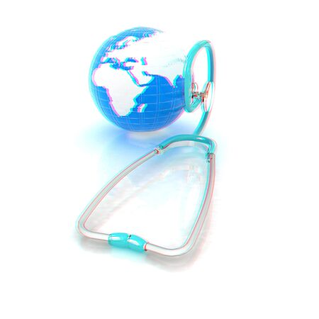 Stethoscope and Earth.3d illustration. Anaglyph. View with redcyan glasses to see in 3D.