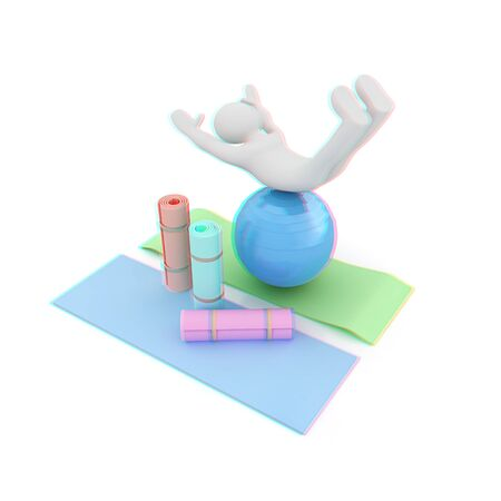 3d man on a karemat with fitness ball. 3D illustration. Anaglyph. View with redcyan glasses to see in 3D.