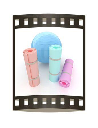 sport mats: karemat and fitness ball. 3D illustration. The film strip