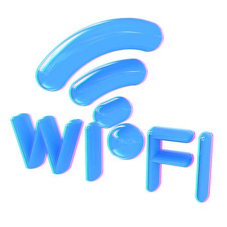 WiFi symbol. 3d illustration. Anaglyph. View with redcyan glasses to see in 3D.