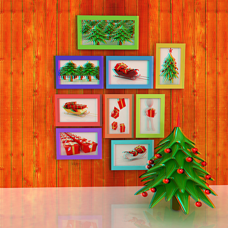 anaglyph: Mock up poster on the wood wall with christmas tree and decorations. 3d illustration. Anaglyph. View with redcyan glasses to see in 3D.