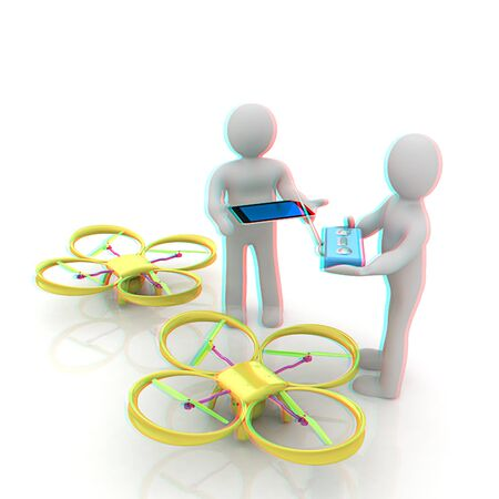 3d white people. Man flying a white drone with camera. 3D render. Anaglyph. View with redcyan glasses to see in 3D. Stock Photo