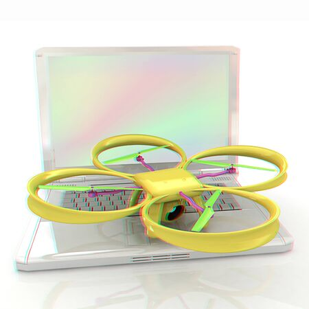 anaglyph: Drone and laptop. 3D render. Anaglyph. View with redcyan glasses to see in 3D.