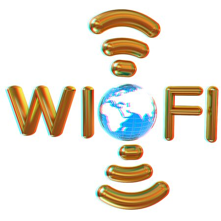 Gold wifi icon for new year holidays. 3d illustration. Anaglyph. View with redcyan glasses to see in 3D.