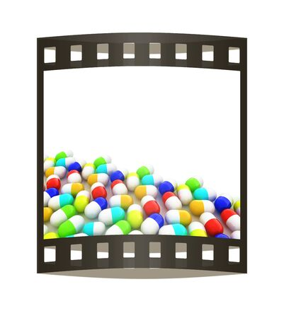 paracetamol: Tablets background with space for your text. 3D illustration. The film strip