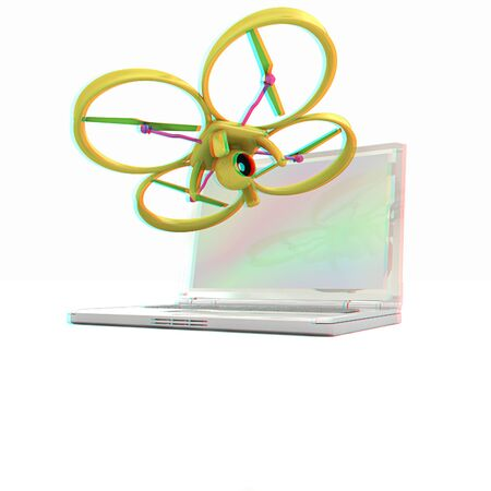Drone and laptop. 3D render. Anaglyph. View with redcyan glasses to see in 3D.