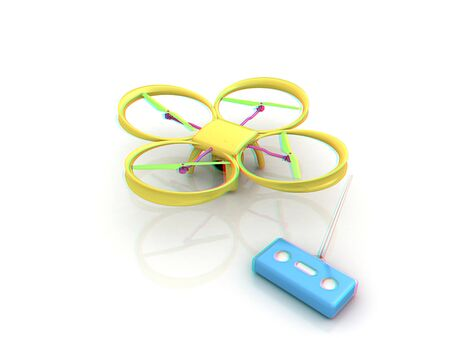 Drone with remote controller. Anaglyph. View with redcyan glasses to see in 3D.