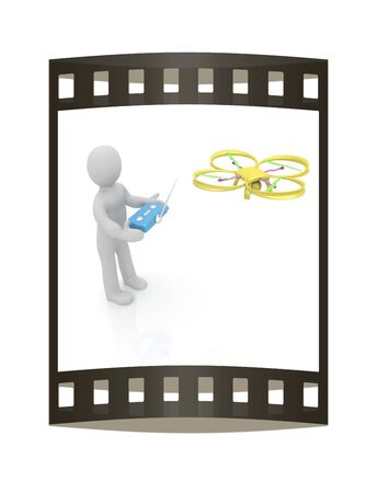 phantom: 3d man with drone, quadrocopter, with photo camera. 3d render. 3D render. The film strip