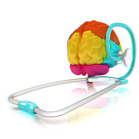 anaglyph: stethoscope and brain. 3d illustration. Anaglyph. View with redcyan glasses to see in 3D.
