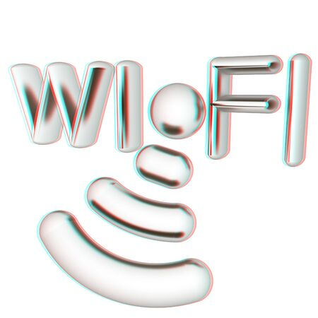 Metal WiFi symbol. 3d illustration. Anaglyph. View with redcyan glasses to see in 3D.