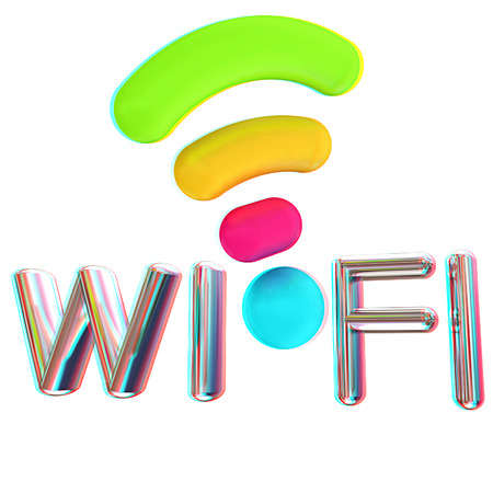 color wifi icon. 3d illustration. Anaglyph. View with redcyan glasses to see in 3D.