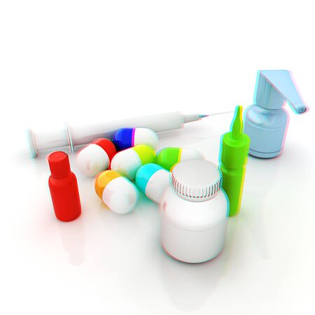 anaglyph: Syringe, tablet, pill jar. 3D illustration. Anaglyph. View with redcyan glasses to see in 3D.