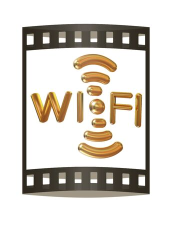 nightspot: Gold wifi icon. 3d illustration in The film strip Stock Photo