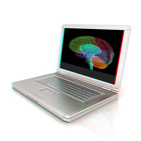 glasses model: creative three-dimensional model of  human brain scan on a digital laptop. 3d render. Anaglyph. View with redcyan glasses to see in 3D.