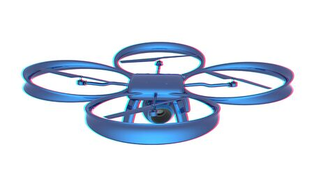 Drone, quadrocopter, with photo camera flying. 3d render. Anaglyph. View with redcyan glasses to see in 3D.