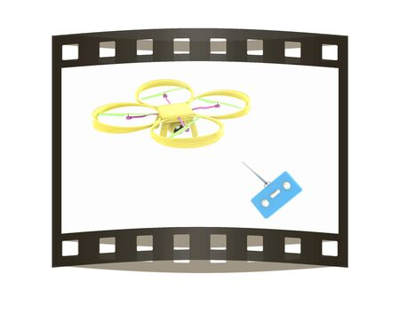 Drone with remote controller. The film strip Stock Photo
