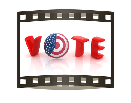 presidential: Image relative to parliament, presidents and others elections. Vote text, sphere instead letter O textured by USA flag. 3d render. The film strip