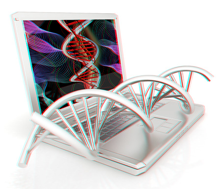 Laptop with dna medical model background on laptop screen. 3d illustration. Anaglyph. View with redcyan glasses to see in 3D. Stock Photo