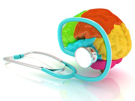 stethoscope and brain. 3d illustration. Anaglyph. View with redcyan glasses to see in 3D.