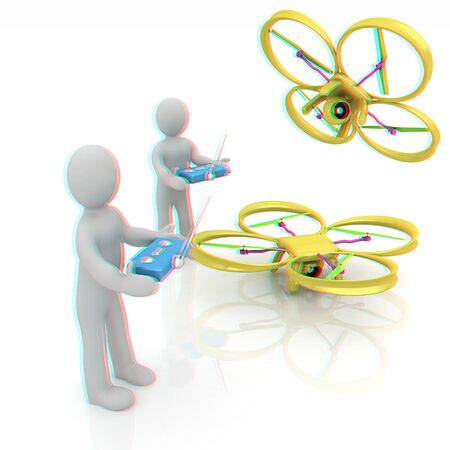 3d man with drone, quadrocopter, with photo camera. 3d render. 3D render. Anaglyph. View with redcyan glasses to see in 3D.